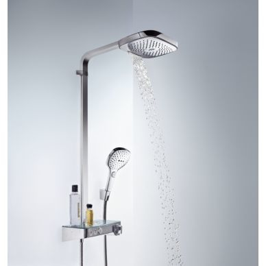 Душевая система Hansgrohe Raindance Select Showerpipe E300 2 jet (27127000) (полка хром) 3