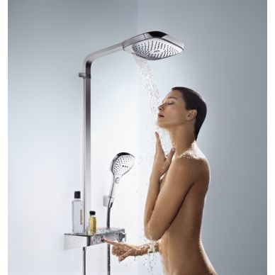 Душевая система Hansgrohe Raindance Select Showerpipe E300 2 jet (27127000) (полка хром) 4