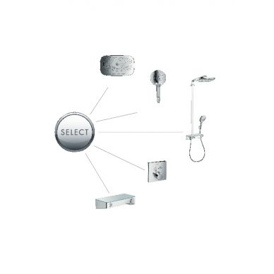 Душевая система Hansgrohe Raindance Select Showerpipe E300 2 jet (27127000) (полка хром) 5