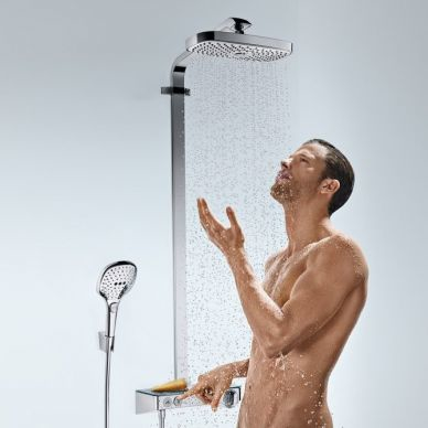 Душевая система Hansgrohe Raindance Select Showerpipe E300 2 jet (27126000) (полка хром) 2